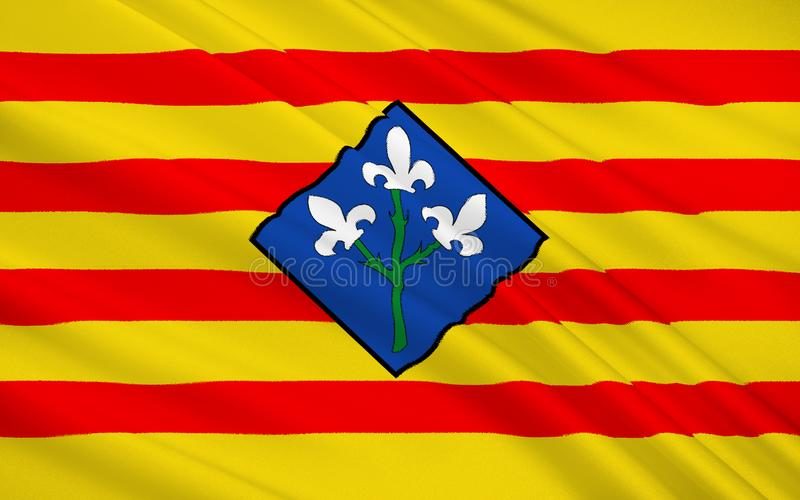 Flag of The Province of Lleida is one of the four provinces of C. Atalonia. It lies in north-eastern Spain royalty free stock photography