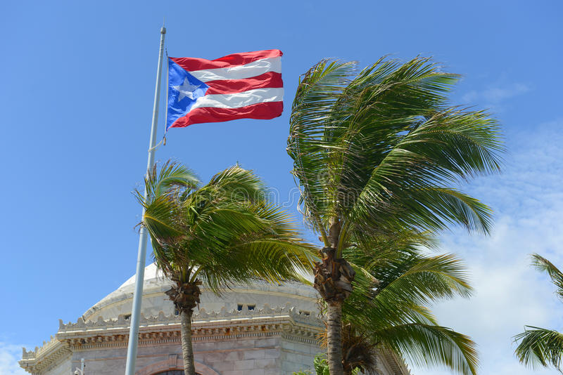 Flag of Puerto Rico at Capitolio, San Juan royalty free stock photos