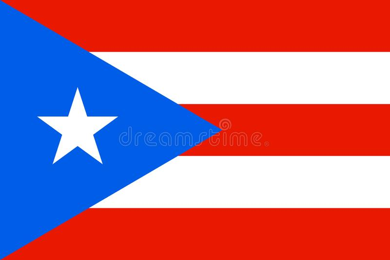 Flag of Puerto Rico in Caribbean sea. Patriotic country symbol with official colors. Flag of Caribbean dependent territory. Puerto Rico national identity vector illustration