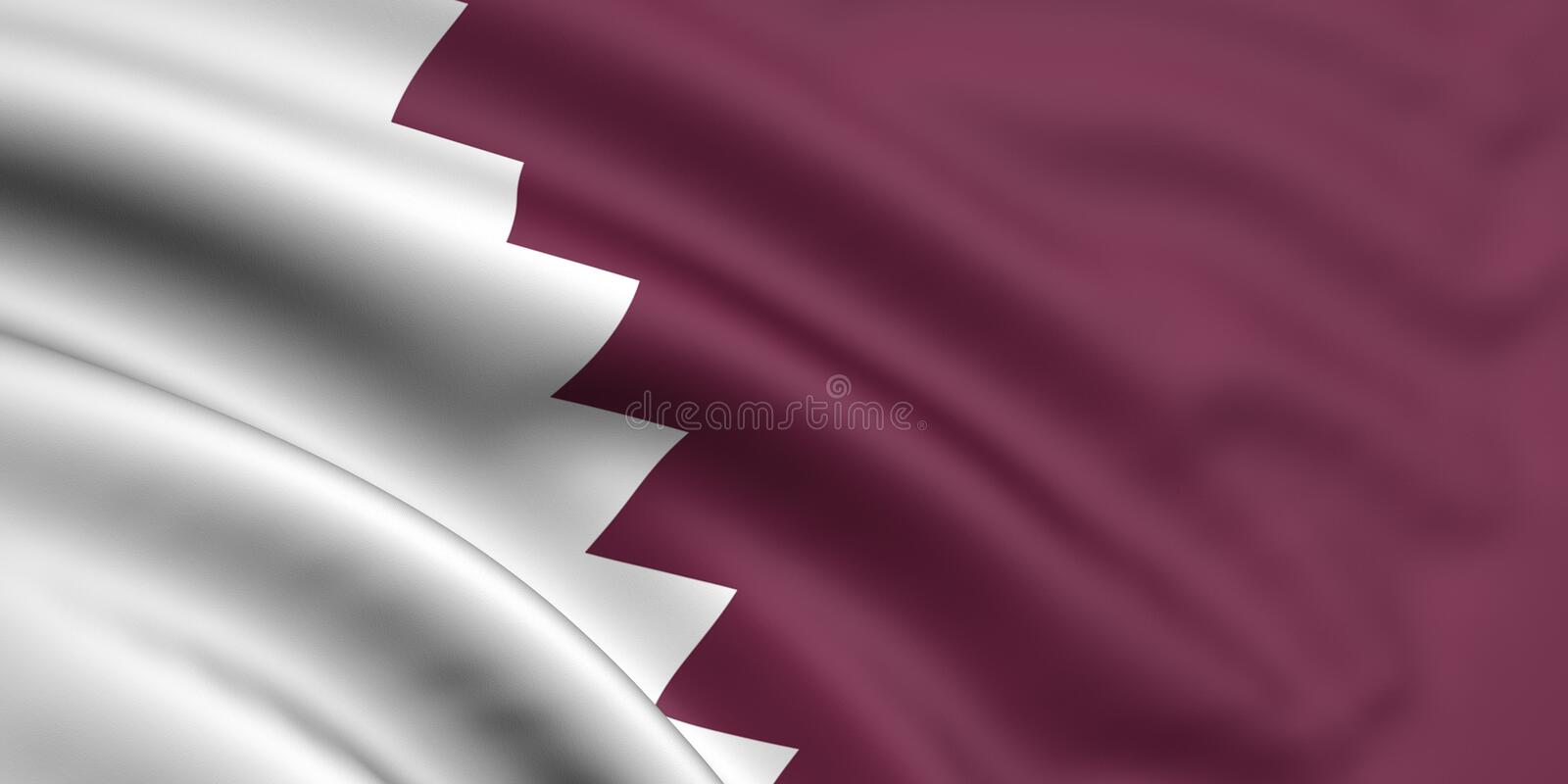 Flag Of Qatar. 3d rendered and waving flag of qatar