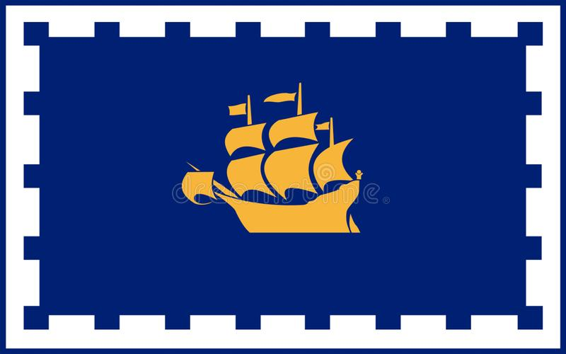 Flag of Quebec city, Canada. Flag of Quebec city is the capital of the province of Quebec in Canada royalty free illustration