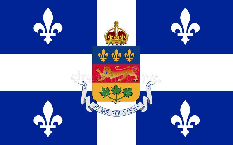 Flag of Quebec, Canada. Flag of Quebec is the second-most populous province in Canada vector illustration