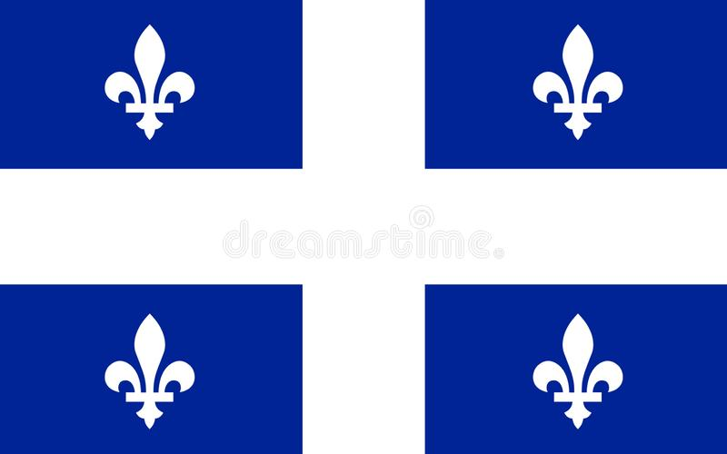 Flag of Quebec, Canada. Flag of Quebec is the second-most populous province in Canada stock illustration
