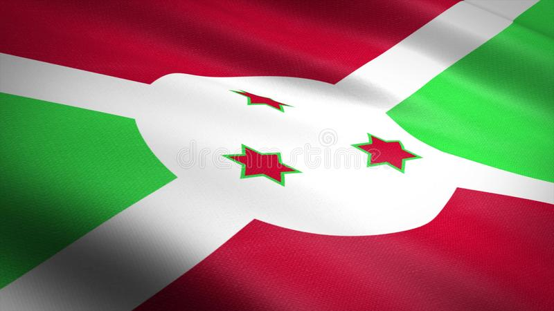 Flag of Republic of Burundi. Realistic waving flag 3D render illustration with highly detailed fabric texture royalty free illustration