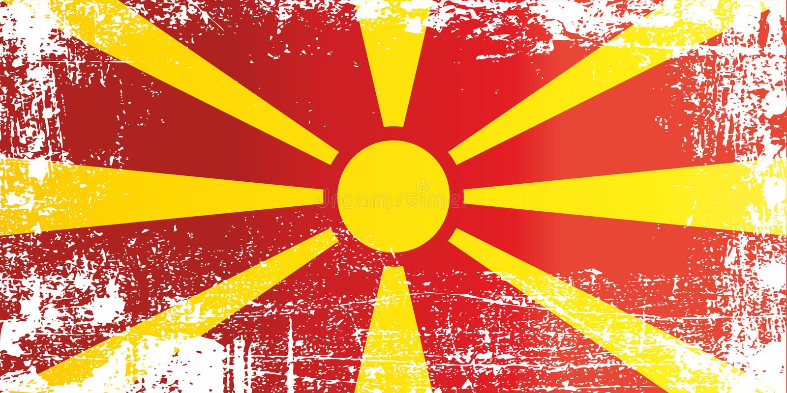 Flag of the Republic of Macedonia. Wrinkled dirty spots. stock photo