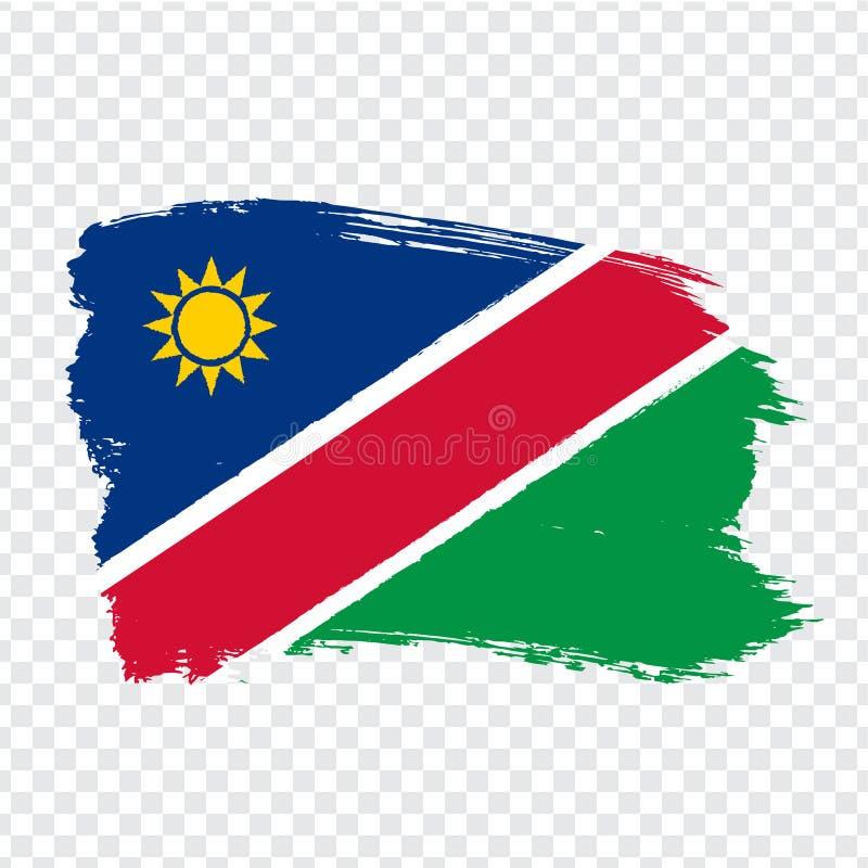 Flag Republic of Namibia from brush strokes.  Namibia Flag isolated.  Flag Namibia for your web site design, logo, app, UI. Africa. EPS10 stock illustration