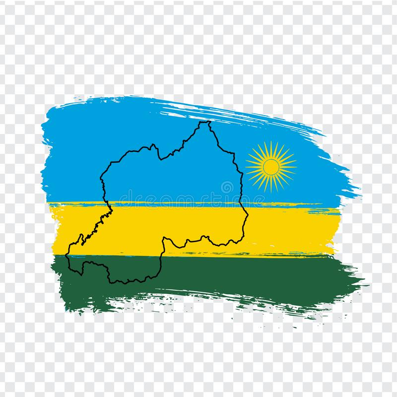 Flag Republic of Rwanda from brush strokes and Blank map Rwanda. High quality map Rwanda and flag on transparent background stock illustration