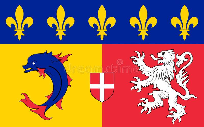 Flag of Rhone-Alpes, France royalty free stock images
