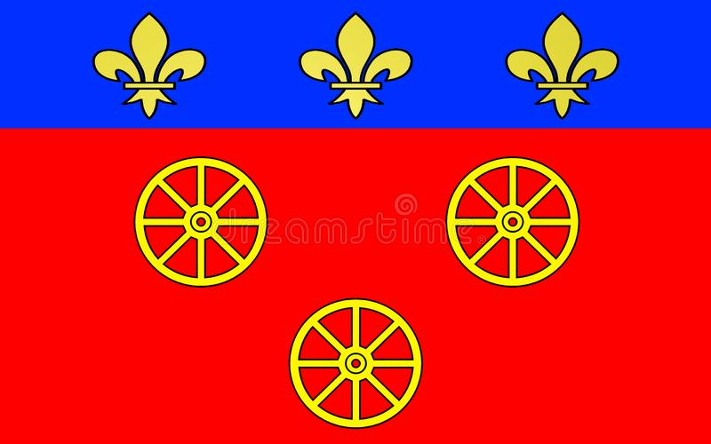 Flag of Rodez, France. Flag of Rodez is a town and commune in the South of the France, northeast of Toulouse. It is the prefecture of the department of Aveyron stock illustration