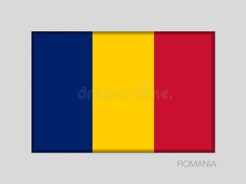 Flag of Romania. National Ensign Aspect Ratio 2 to 3 on Gray. Cardboard vector illustration