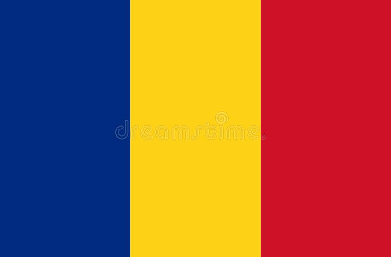 Flag of Romania - official state symbol of Romania. Rectangular, consisting of three vertical bands: vector illustration