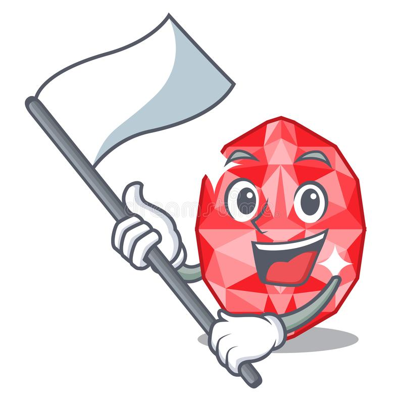 With flag ruby gems in the mascot shape. Vector illustration stock illustration