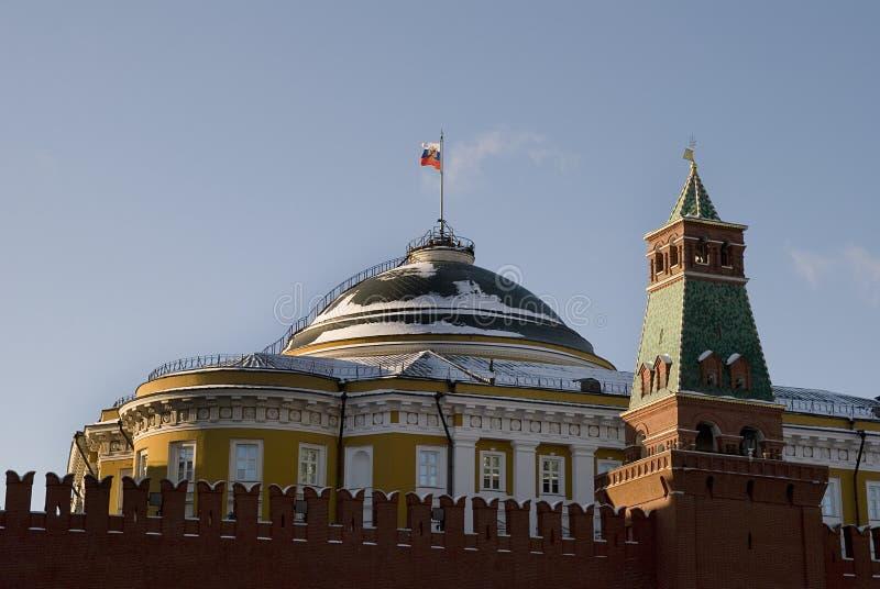 Flag of Russia flutters over walls Kremlin stock photos