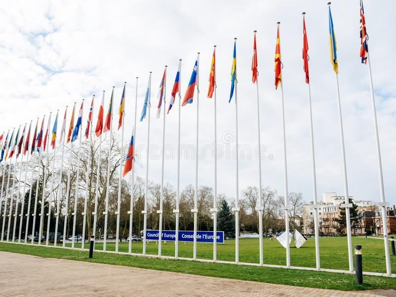 Flag of Russia flying half-mast at Council of Europe in Strasbou stock photos