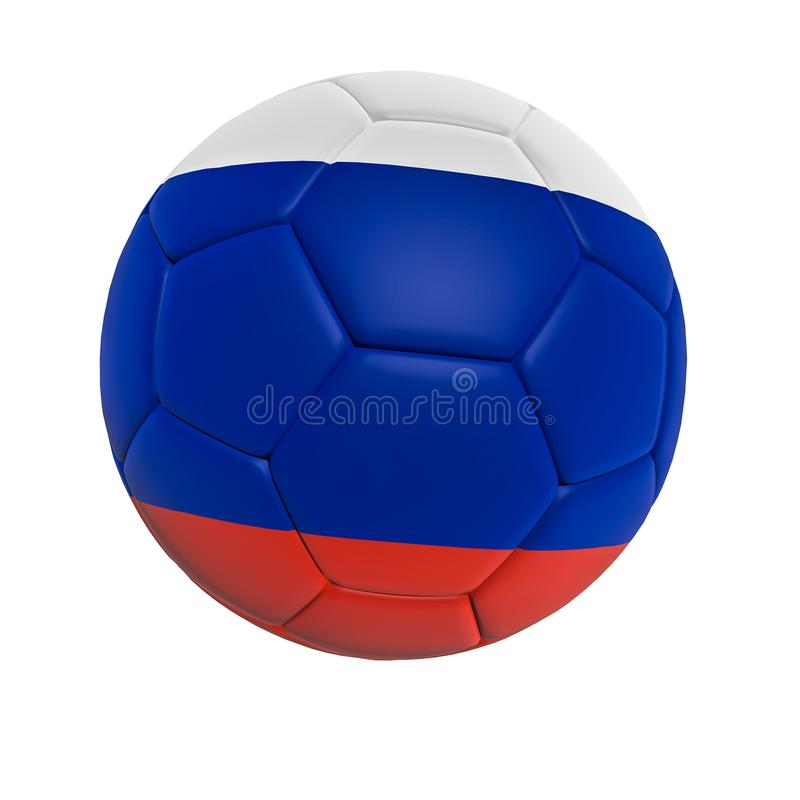 Flag of Russia on soccer/football ball isolated on white background, 3d rendering vector illustration