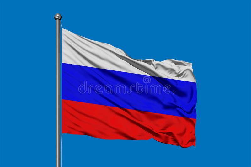 Flag of Russia waving in the wind against deep blue sky. Russian flag stock images