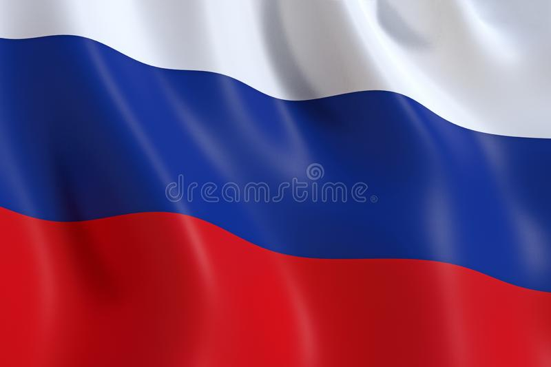 Flag of Russian federation, waving in the wind. The flag of Russia Флаг России, the white, blue and red tricolor stock illustration