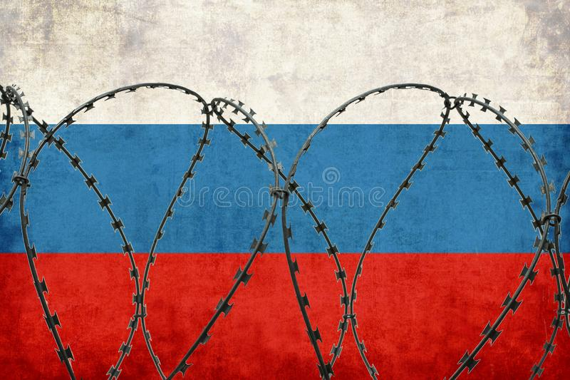 The flag of the Russian state is fenced with barbed wire. Sanctions, restrictions stock illustration