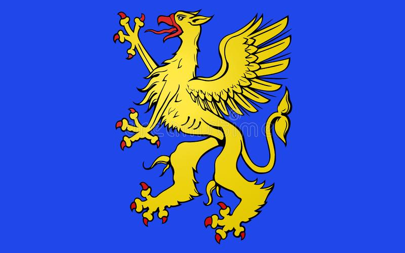 Flag of Saint-Brieuc, France. Flag of Saint-Brieuc is a commune in the Cotes Armor department in Brittany in northwestern France royalty free stock photo