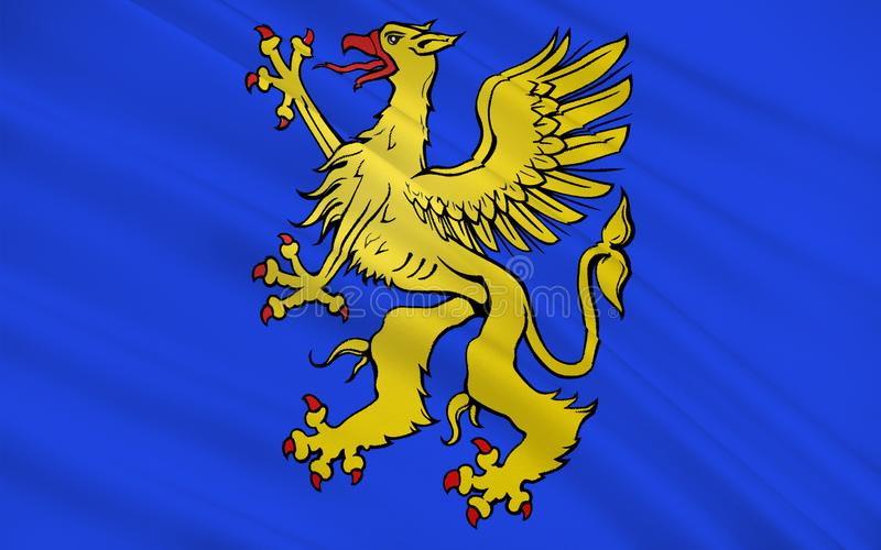 Flag of Saint-Brieuc, France. Flag of Saint-Brieuc is a commune in the Cotes Armor department in Brittany in northwestern France royalty free stock images
