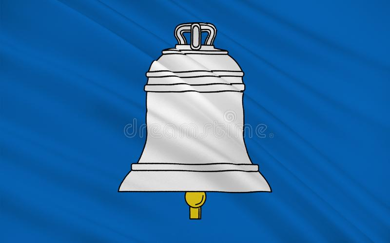 Flag of Saint-Gaudens, France. Flag of Saint-Gaudens is a commune and a sub-prefecture of the Haute-Garonne department in southwestern France stock illustration