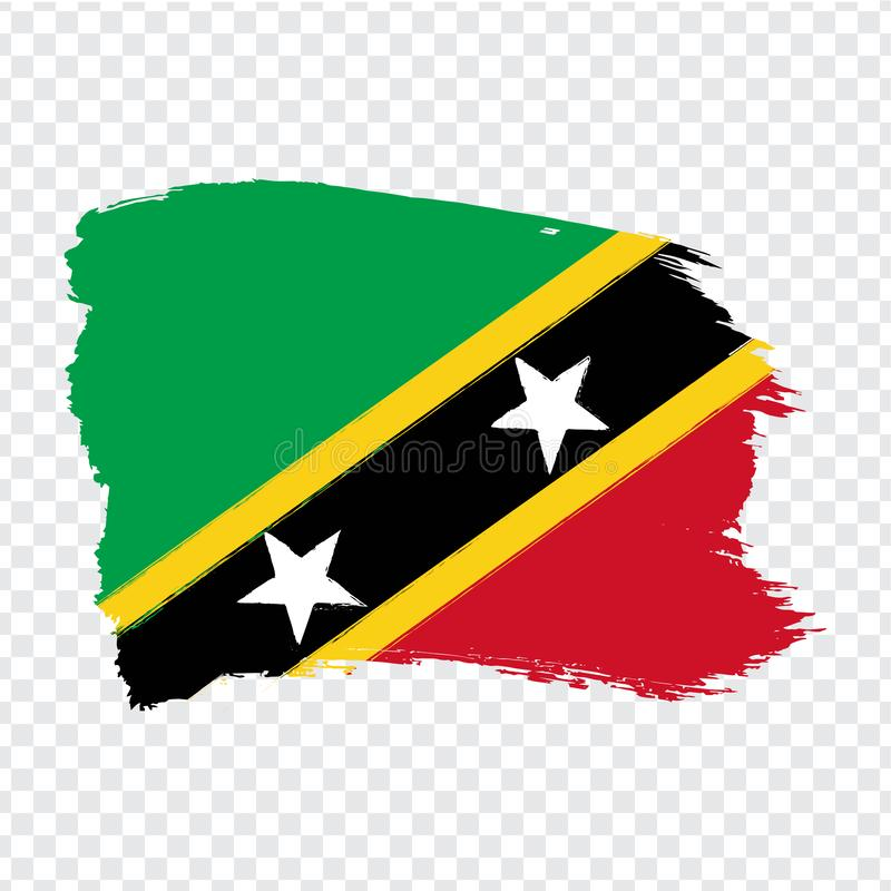 Flag Saint Kitts and Nevis from brush strokes. Flag Saint Kitts and Nevis on transparent background for your web site design, logo royalty free stock photography