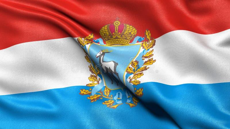 Flag of Samara Oblast waving in the wind. 3D illustration stock image