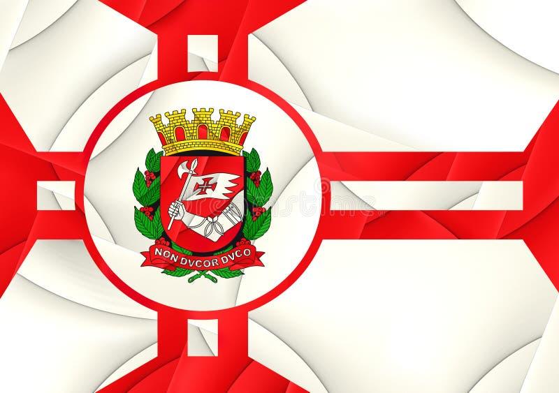 Flag of Sao Paulo City, Brazil. Close Up royalty free illustration