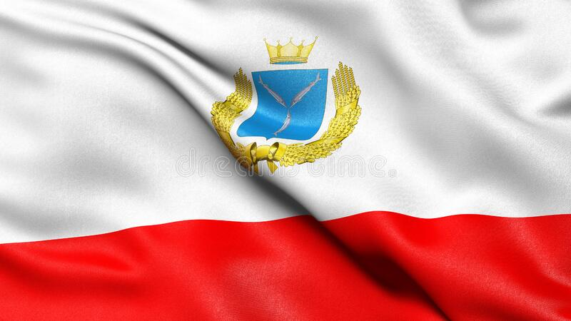 Flag of Saratov Oblast waving in the wind. 3D illustration stock photography