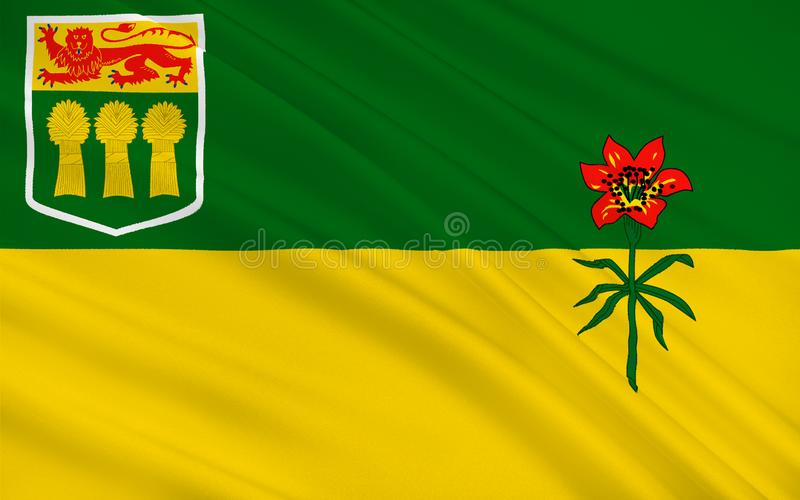 Flag of Saskatchewan, Canada. Flag of Saskatchewan is a prairie and boreal province in west-central Canada stock illustration