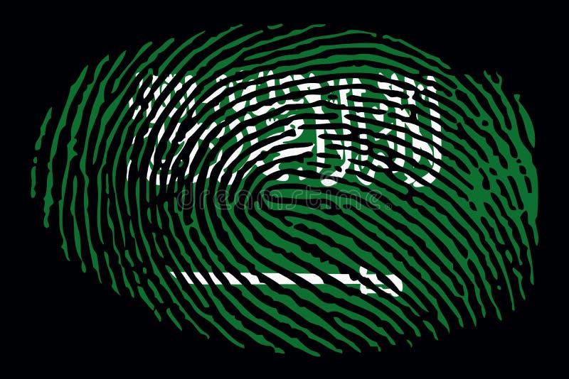 Flag of Saudi Arabia in the form of a fingerprint on a black background vector illustration