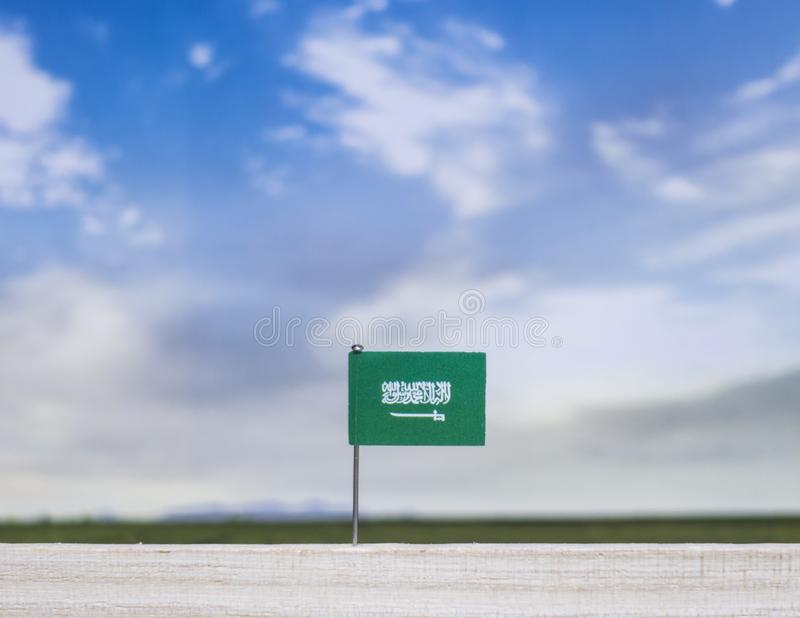 Flag of Saudi Arabia with vast meadow and blue sky behind it. stock photo