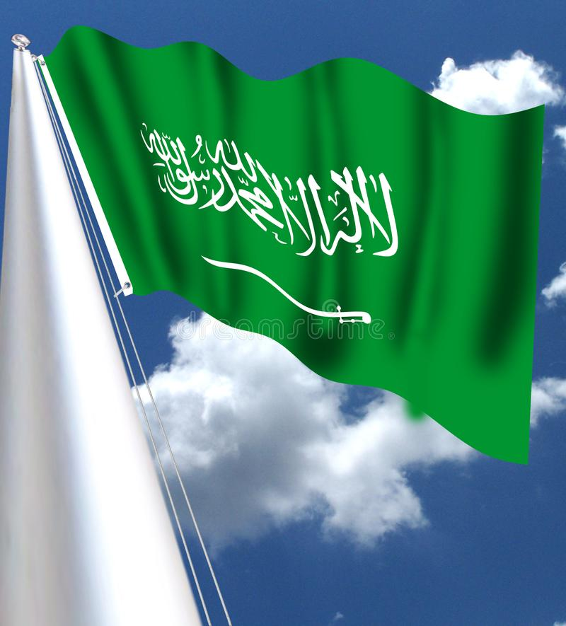 The flag of Saudi Arabia was adopted, with its current form, on March 15, 1973, although it has been used since 1932. It is green. And in the center an stock illustration