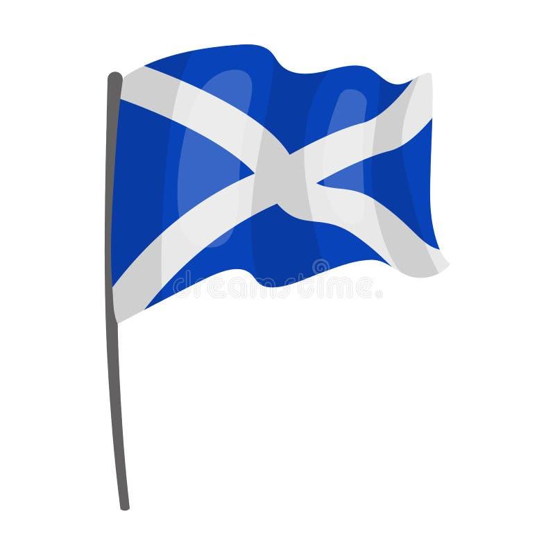Flag of Scotland icon in cartoon style isolated on white background. Scotland country symbol. stock illustration