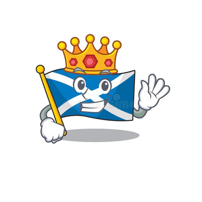 Flag Scotland Scorrere un modello stilizzato di King nella progettazione dei caratteri dei fumetti illustrazione di stock