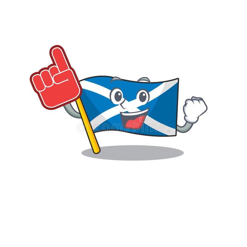 Flag Scotland Scorrimento stile vignetta mascotte con dito di schiuma illustrazione vettoriale