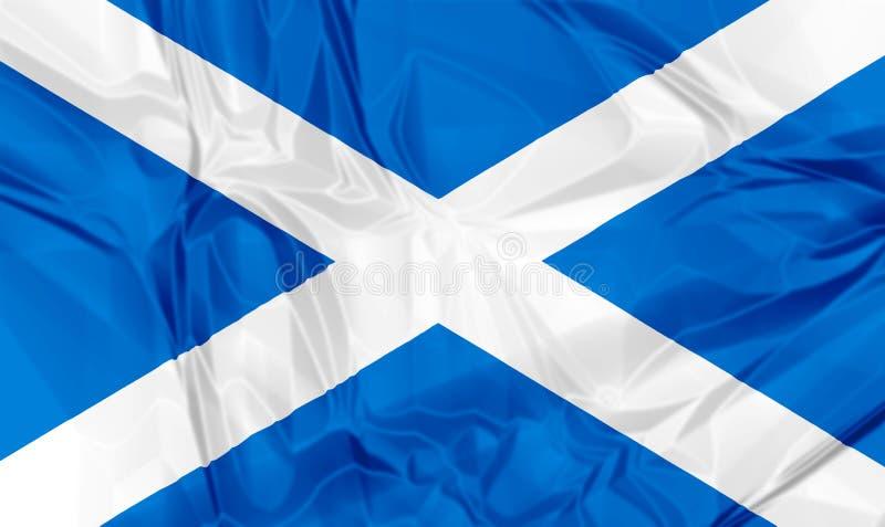 Flag of Scotland. Waving flag of Scotland, blue white colors. 3d background vector illustration