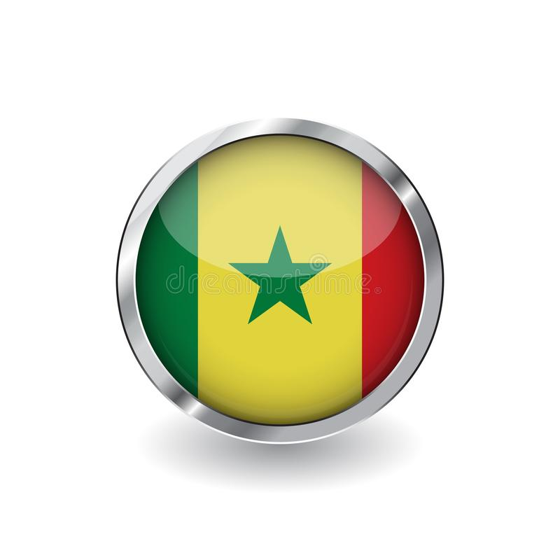 Flag of senegal, button with metal frame and shadow. senegal flag vector icon, badge with glossy effect and metallic border. Reali stock illustration