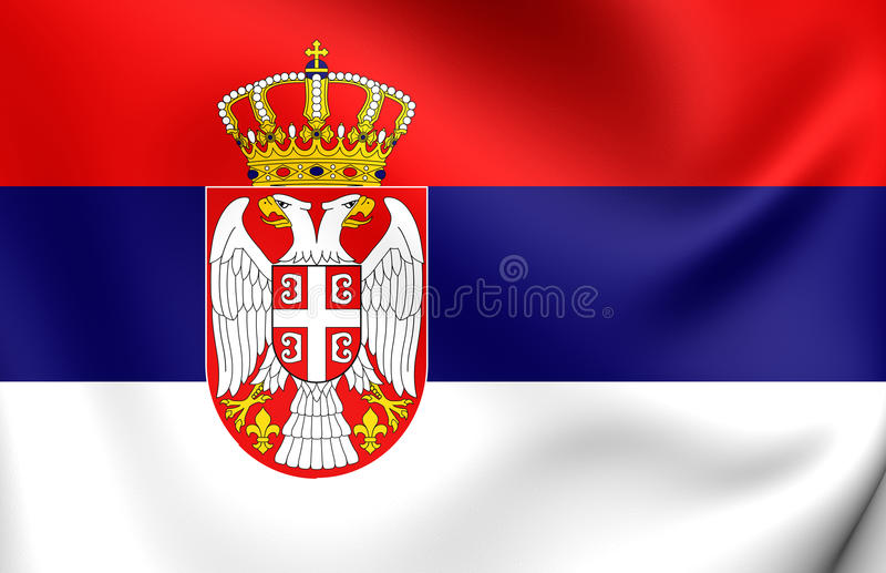 Flag of Serbia. 3D Flag of the Serbia. Close Up vector illustration