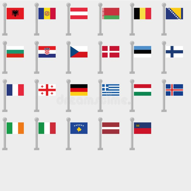 Flag Set of all Countries of Europe. Vector Collection vector illustration