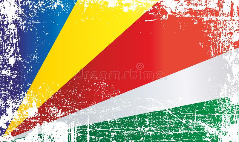 Flag of Seychelles. Wrinkled dirty spots. Can be used for design, stickers, souvenirs stock illustration