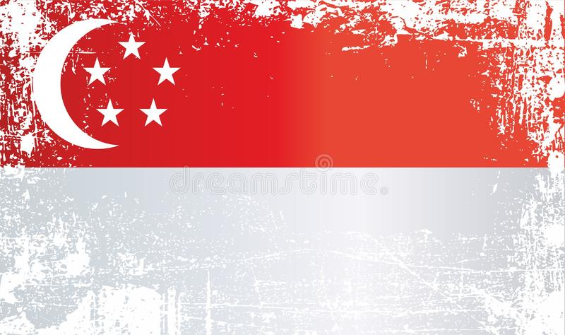Flag of Singapore. Wrinkled dirty spots. Can be used for design, stickers, souvenirs royalty free illustration