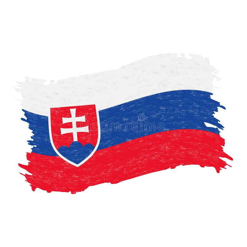 Flag of Slovakia, Grunge Abstract Brush Stroke Isolated On A White Background. Vector Illustration. royalty free illustration