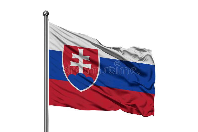 Flag of Slovakia waving in the wind, isolated white background. Slovak flag royalty free stock photos
