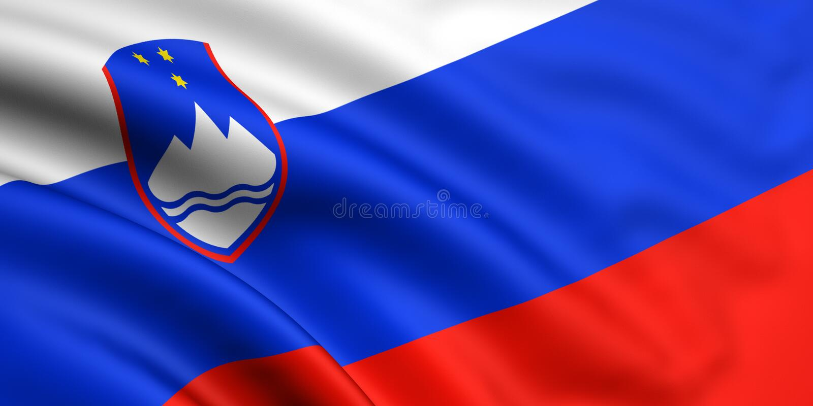 Flag Of Slovenia. 3d rendered and waving flag of slovenia