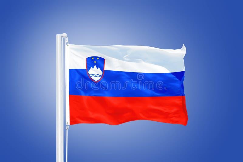 Flag of Slovenia flying against a blue sky.  royalty free stock photos