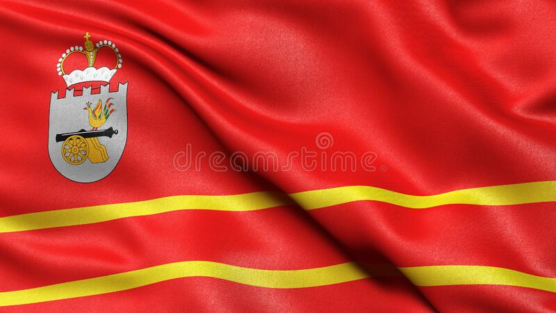 Flag of Smolensk Oblast waving in the wind. 3D illustration stock photo