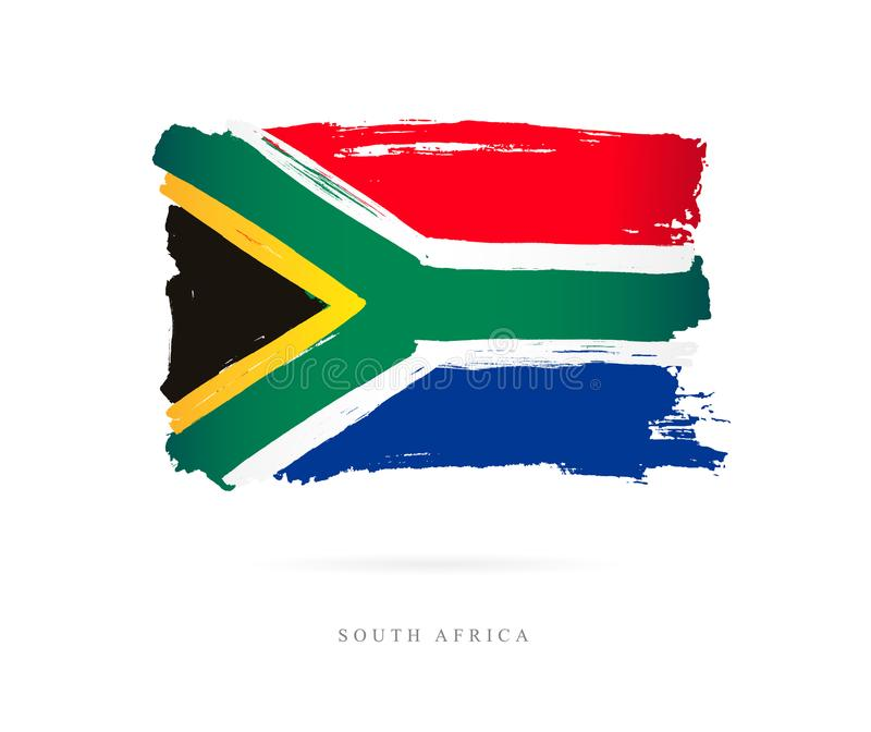Flag of South Africa. Abstract concept. Flag of South Africa. Vector illustration on white background. Beautiful brush strokes. Abstract concept. Elements for royalty free illustration