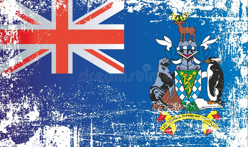 Flag of South Georgia and the South Sandwich Islands, British Overseas Territories. Wrinkled dirty spots. Can be used for design, stickers, souvenirs stock illustration