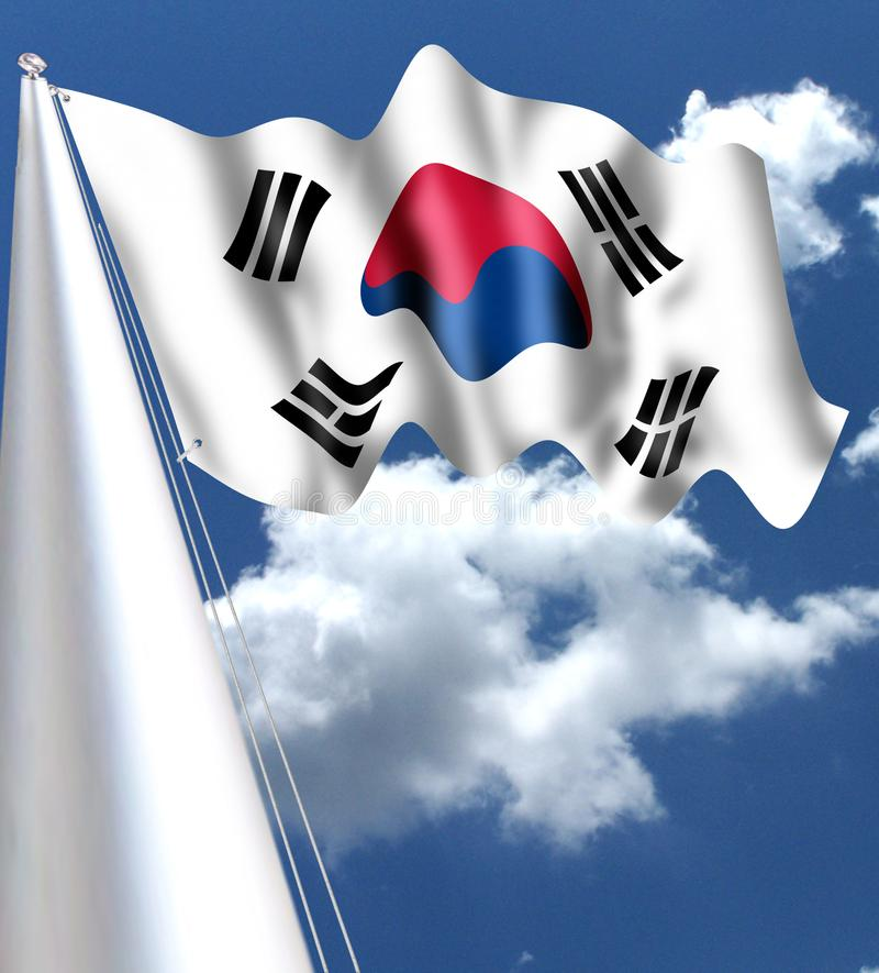 The flag of South Korea is called Taegeukgi. It is white and has yin-yang in its center. The yang red symbol means lig royalty free illustration